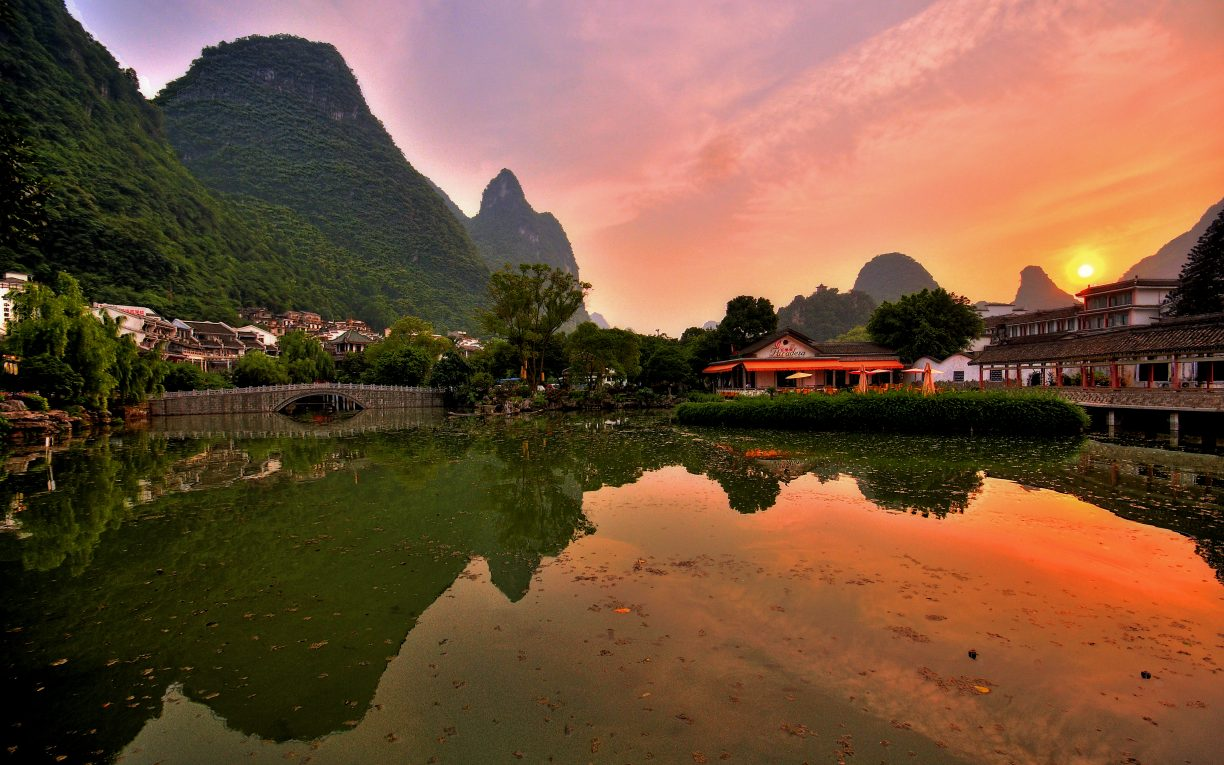 li river dusk yangshou china