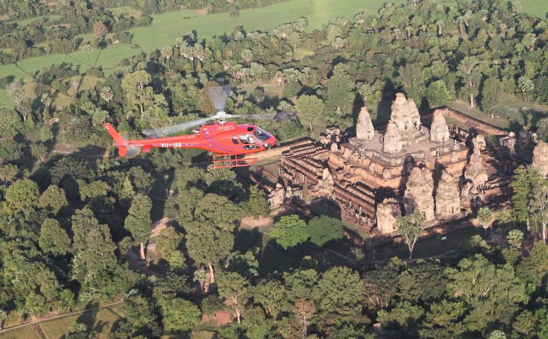 Helicopter over Angkor Wat Cambodia
