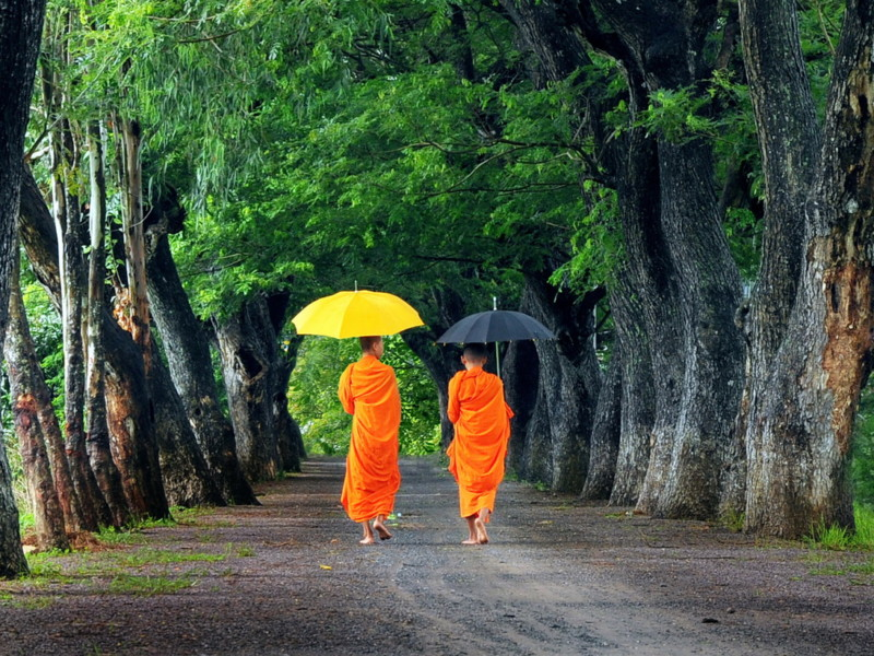 Monks Walking together Cambodia