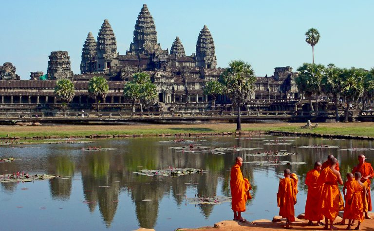 Monks at Angkor Wat Siem Reap Cambodia