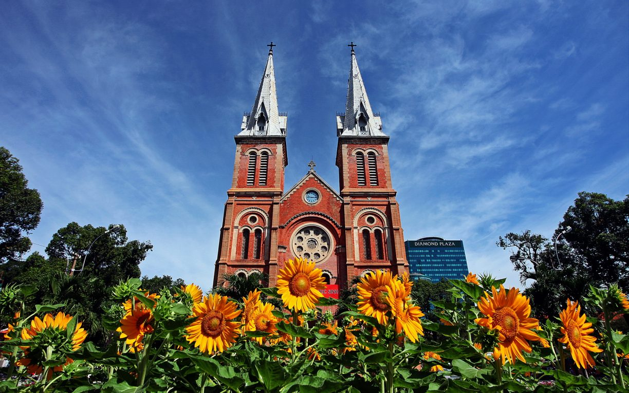 Notre Dame Cathedral bright Ho Chi Minh city vietnam