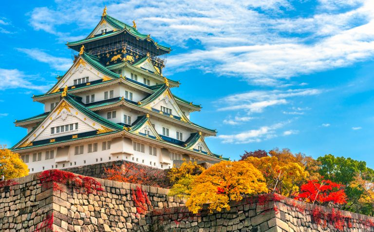 Osaka Castle Autumn Osaka Japan closeup
