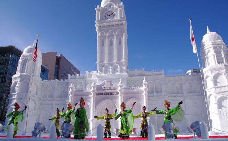 Sapporo Snow Festival day dancers clock japan