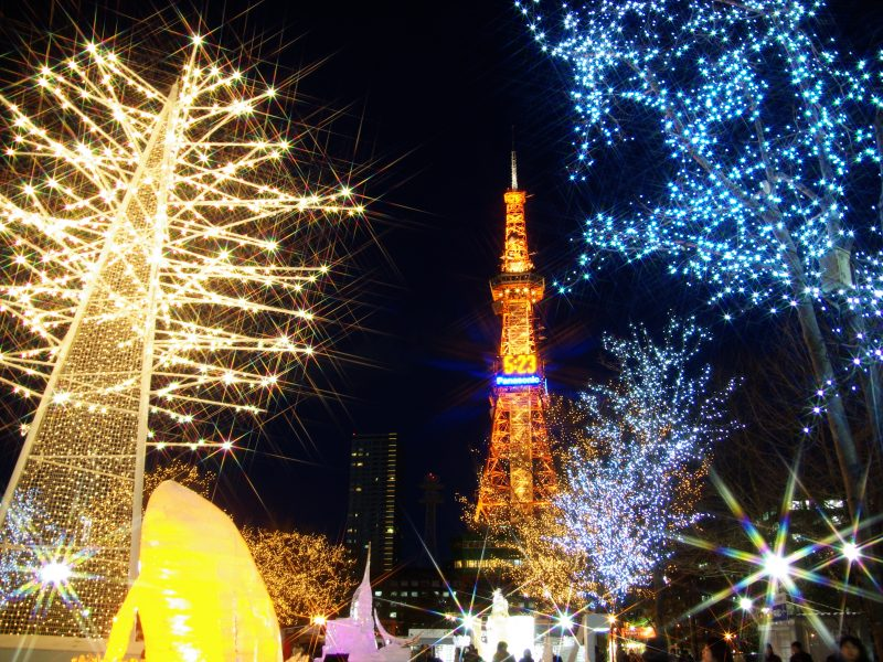 Sapporo Snow Festival night lights tower japan