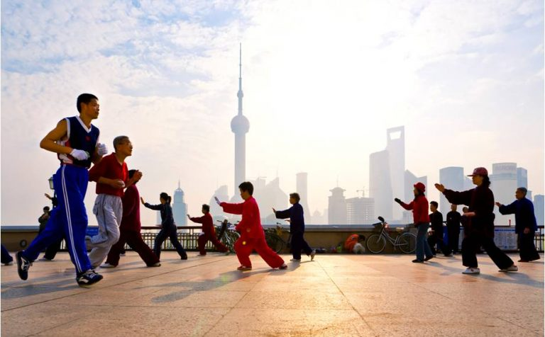 Tai Chi on the Bund shanghai china