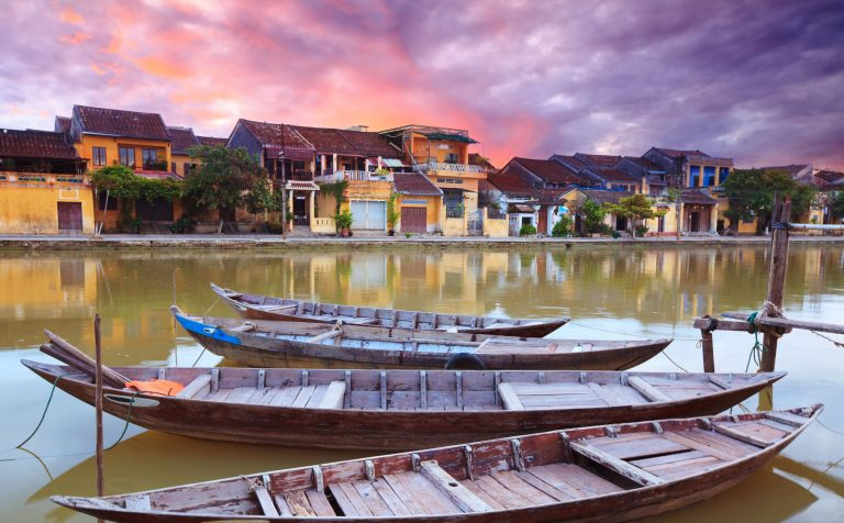 boats river sunset Hoi An Vietnam
