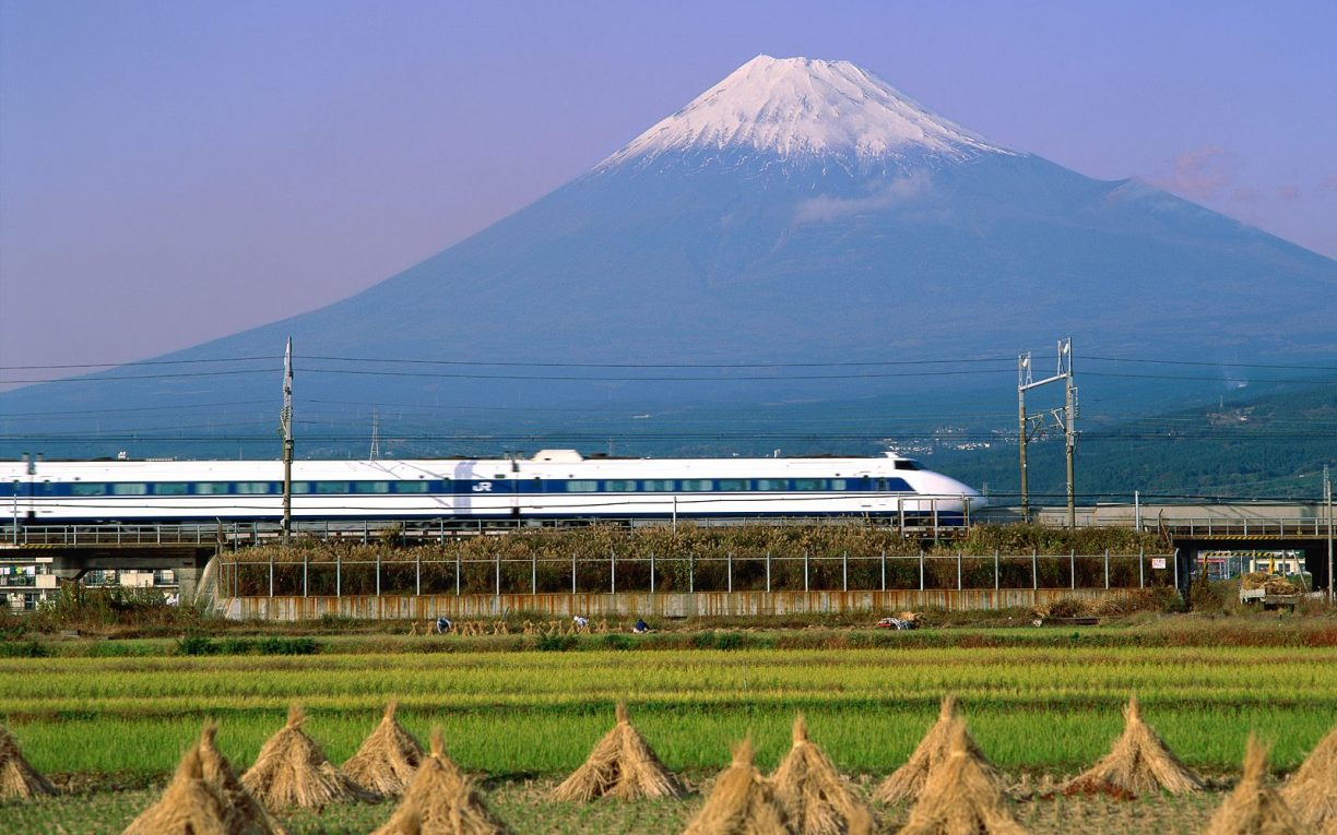 japan mount fuji trains railroad-tracks vehicles shinkansen japan