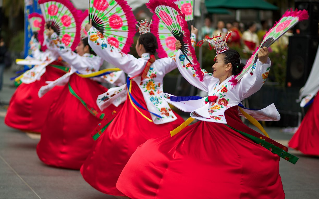 women traditional dress dancing South korea