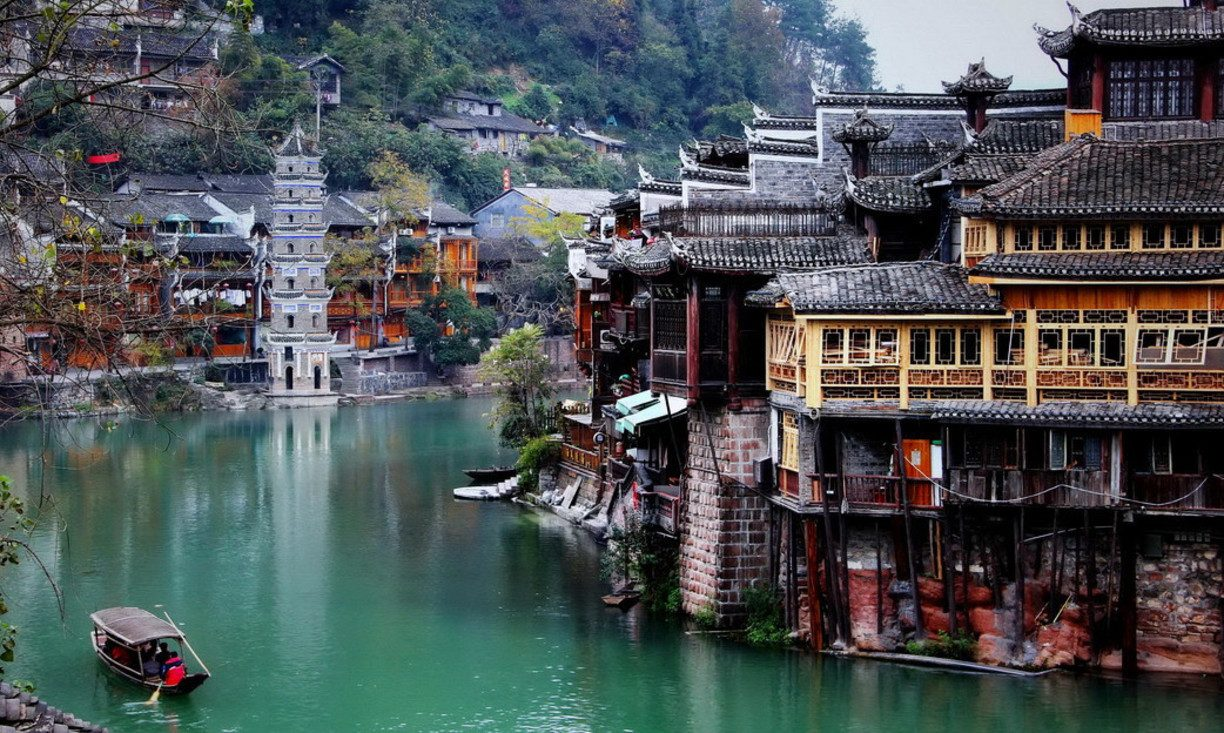 river buildings Fenghuang china