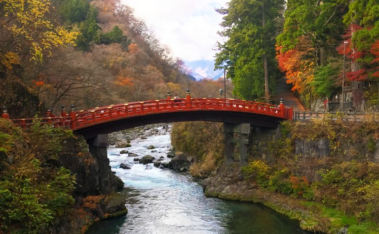 bridge river trees shinkyo nikko japan