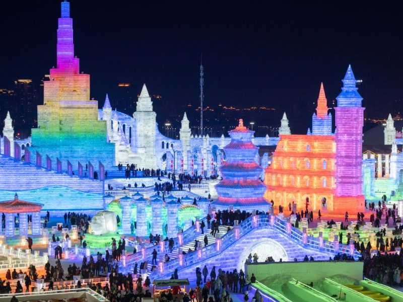 night snow ice festival harbin china