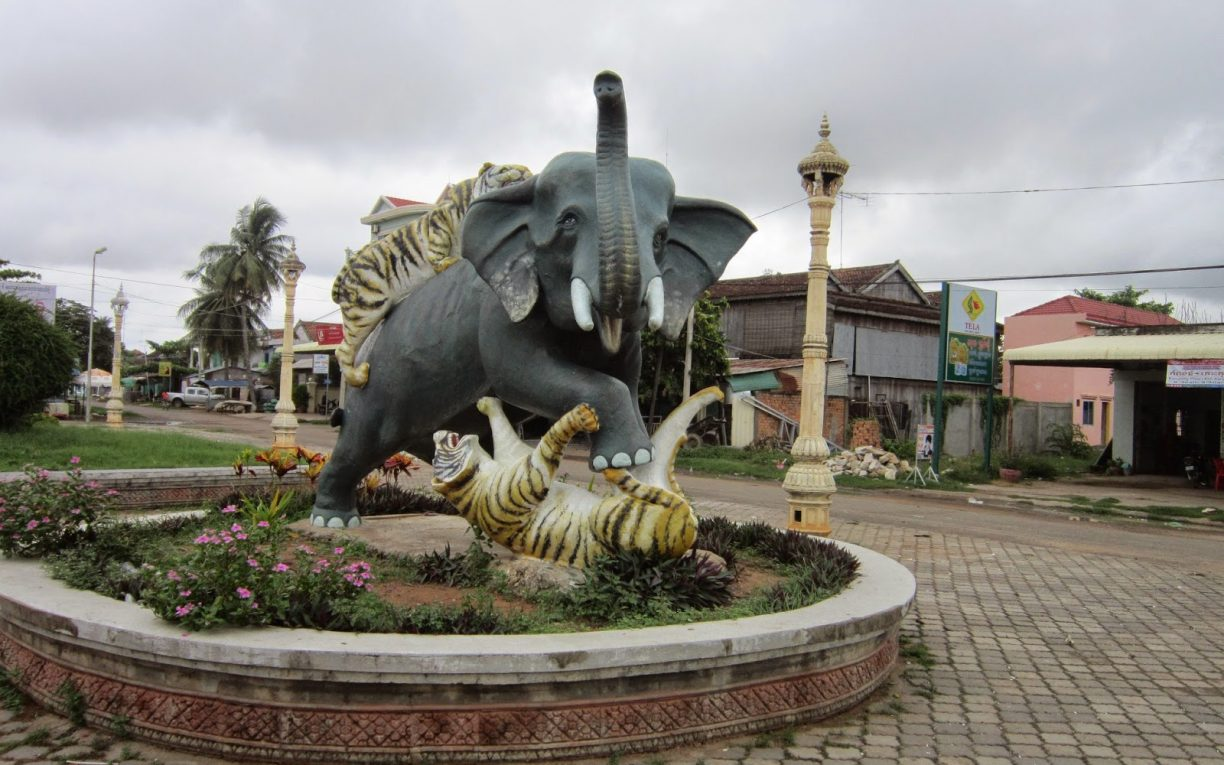 tigers elephant statue kampong thom cambodia